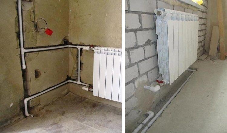 Штробы для труб отопления в стенах и полу комнаты
